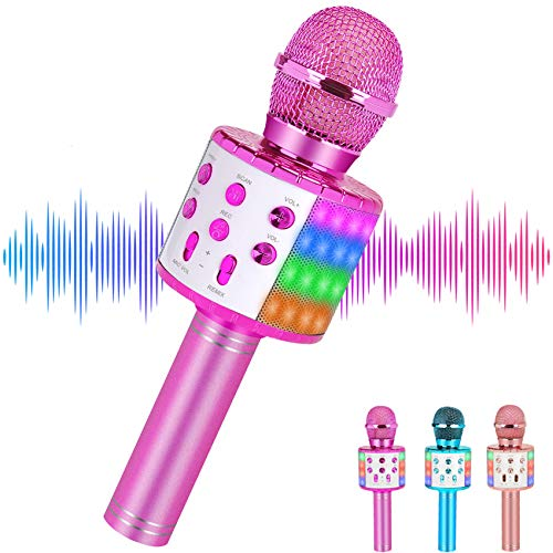Niskite Karaoke Microphone Bluetooth Wireless Singing Handheld Microphone for Kids and Adults, Portable Mic Speaker Machine with Led Flash Light,Best Toy Gifts for Boys Girls Age 4-16