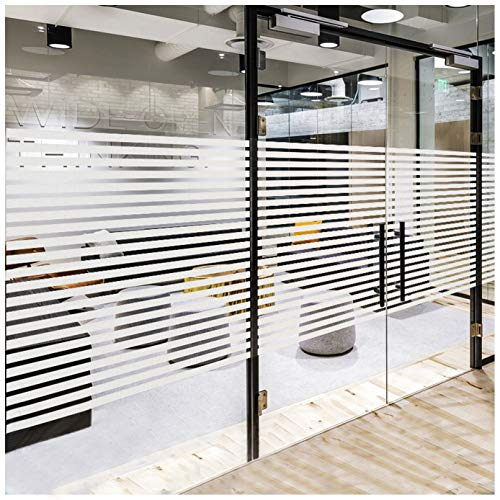 Frosted Window Privacy Film, Non-Adhesive Static Cling Sticker Etched Glass Effect Frosting Stripes for Home Office Meeting Room Living Room - Easy Removal, No Residue (Stripes, 35.4 x 78.7 Inches)