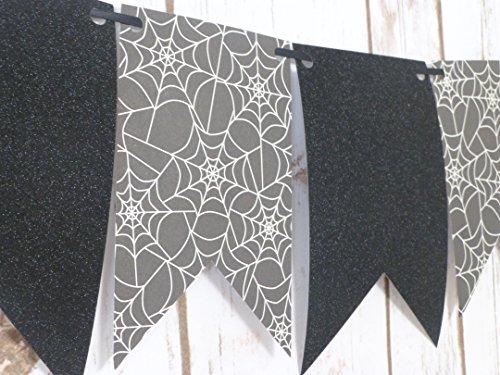 Spiderweb Banner Garland, Halloween Decorations, Glitter Black Pendant Banner, Spider Decor, Halloween Party Ideas, Spider Decorating Theme -