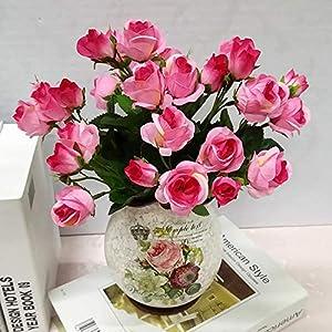 Artificial Flowers 4 Bundle Fake Flowers Silk Artificial Roses Bridal Wedding Bouquet for Home Garden Party Wedding Decoration 1