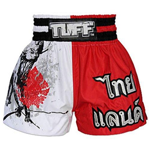tuff-mma-muaythai-boxing-training-red-white-shorts-elephant-free-express-ship-m