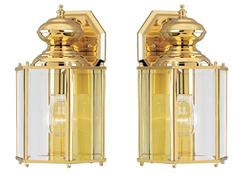 - Ciata Lighting One-Light Exterior Wall Lantern, Polished Brass Finish on Solid Brass and Steel with Clear Beveled Glass Panels - 2 Pack