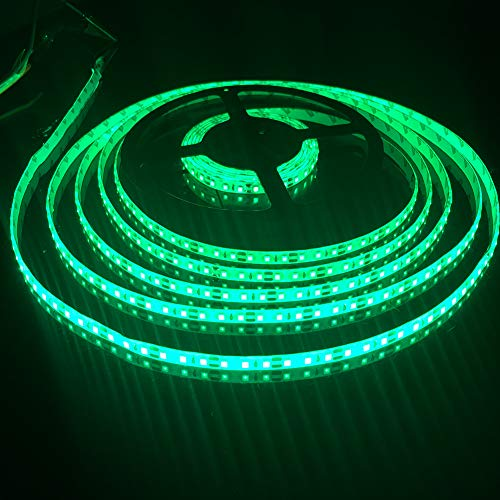 FAVOLCANO LED Light Strip, Green IP65 Waterproof LED Tape Light, SMD 3528, 600 LEDs 16.4 Feet(5M) LED Strip 120 LEDs/M Flexible Tape Lighting ()