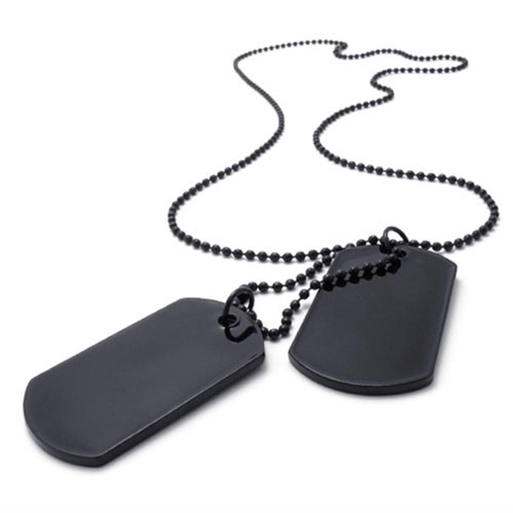 TEMEGO Jewelry Mens 2pcs Army Style Classic Dog Tag Pendant Necklace Military Bead Chain, Black 15919001