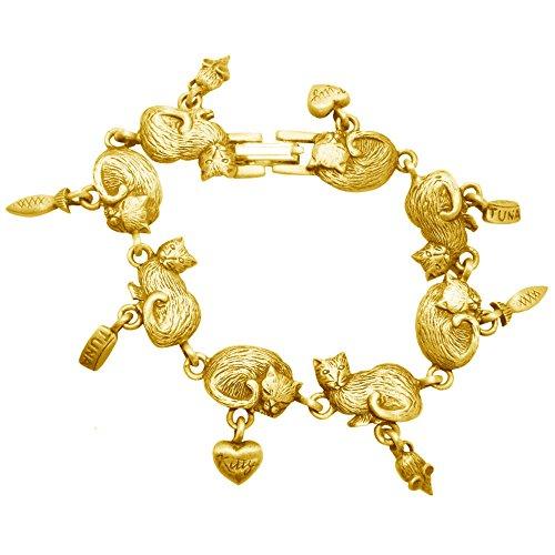 GirlPROPS Vintage Kittens and Fish Bracelet, Usa, Signed Jj, Matte Gold Tone in Gold Tone with Magenta (Vintage Bracelet Signed)