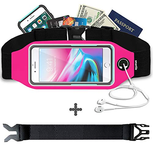 (Fanny Pack, Running Belt, Waist Bag for Women & Men for iPhone Xs Max, XR, XS/X, 8/7/6s Plus, 8/7/6/SE, Samsung Galaxy S10/S9/S8 Plus/Note, Moto, with Their Cases on. Gym Workout Fitness Gear- Pink)