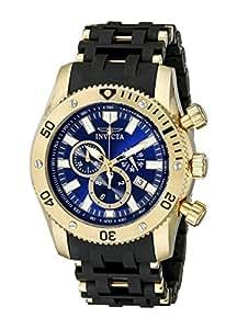 Invicta Men's 10254 Sea Spider Chronograph Blue Sunray Dial Black Polyurethane Watch