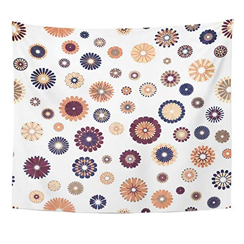 (Emvency Tapestry Polyester Fabric Print Home Decor Beige Brown Blush Plum Blue Gradient Spot Flower on White Mid Century Mod Wall Hanging Tapestry for Living Room Bedroom Dorm 50x60 Inches)
