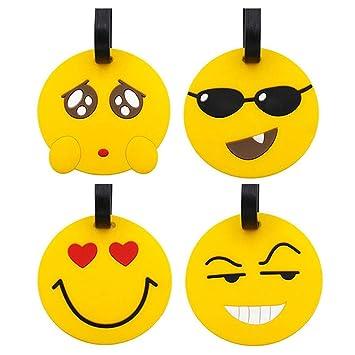Etiquetas para Equipaje de Viaje, Paquete de 4 Emoji Maleta Etiquetas para Etiquetas de identificación para Viajes, titulares de identificadores de PVC para ...