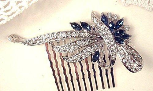 Sapphire Blue Crystal Wedding Hair Comb, Navy & Clear Rhinestone Bridal Hairpiece, Great Gatsby Art Deco Silver 1920s Accessory Something Blue Headpiece