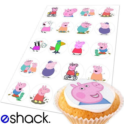 20x Peppa Pig Edible Cake Toppers (Birthday Cupcake Topper by eShack)