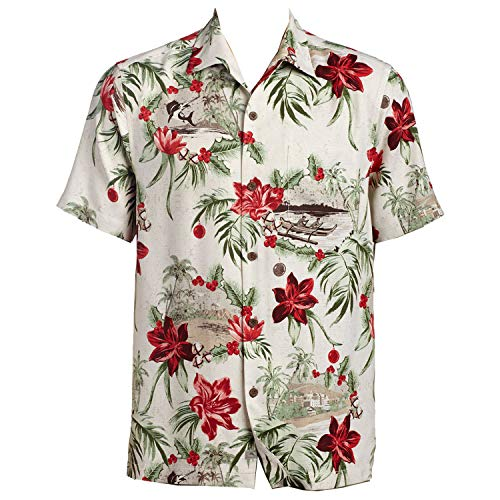 Tommy Bahama Honolulu Holiday Silk Camp Shirt (Color: Coconut Cream, Size XL)