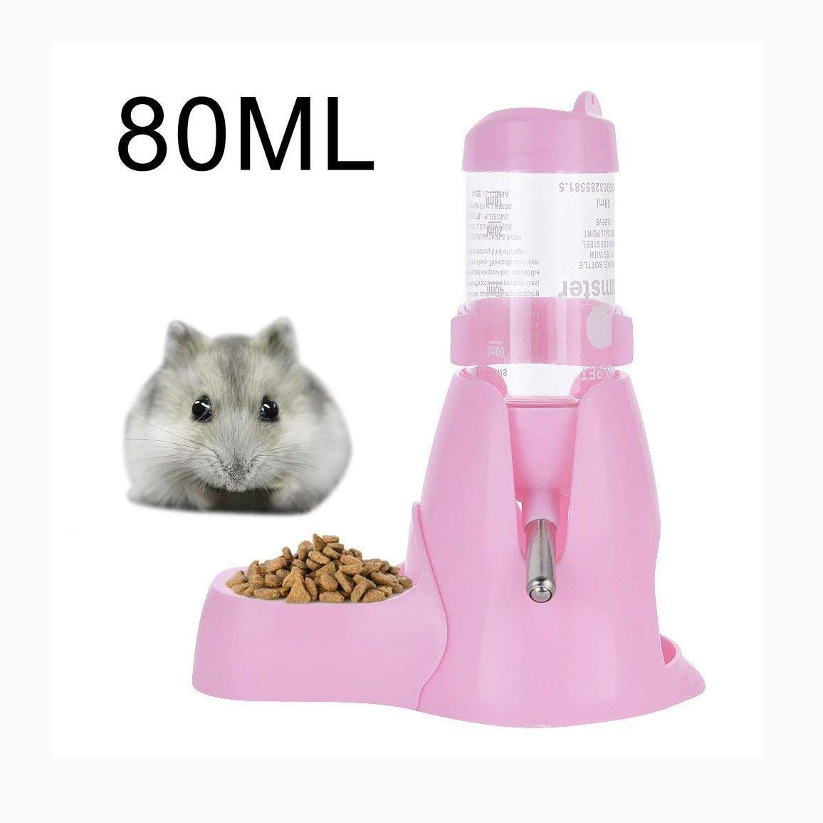 ThreeCat Pet Bouteille d'eau Pet Gourde avec 80MLCabine de Base de Nourriture pour Les Hamsters Rats Guinea-Pigs furets Lapins Petits Animaux à Suspendre à l'eau biberon Distributeur Automatique