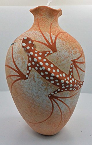 Native American Pottery Hand Painted Lizard Pot by Tony Lorenzo, Zuni (Painted Pottery Vase)