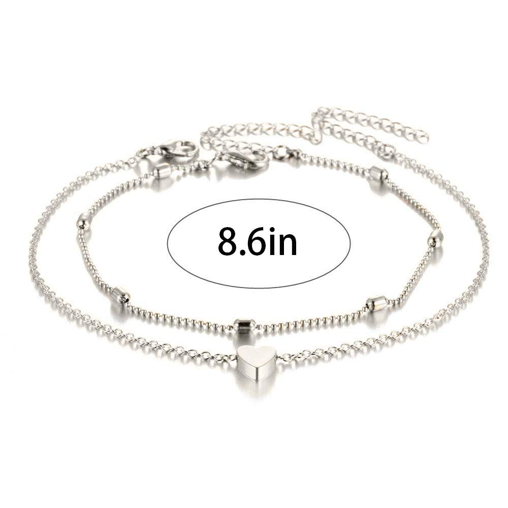 Aluinn Boho Layered Anklet Fashion Love Heart Beaded Ankle Bracelet Silver Beaded Foot Jewelry for Women and Teen Girls (Silver)