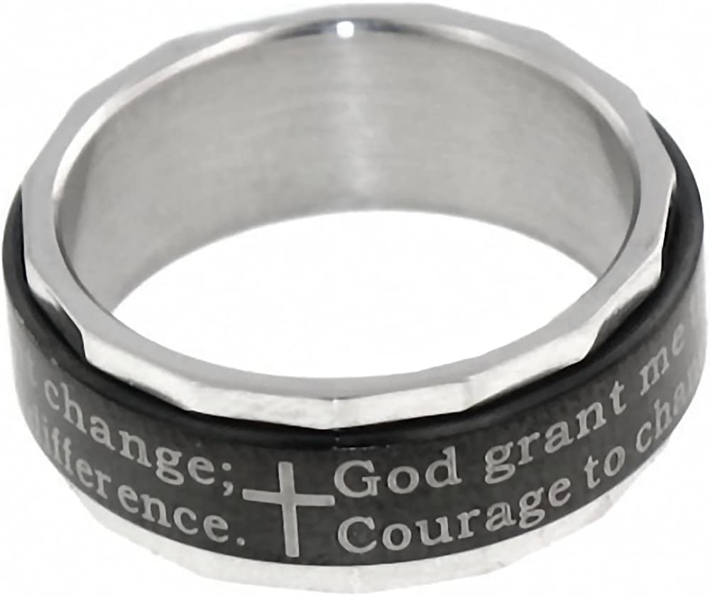 1000 Jewels Serenity: Serenity Prayer Inscribed Fashion Spinner Band Ring 316 Stainless Steel, 3258B