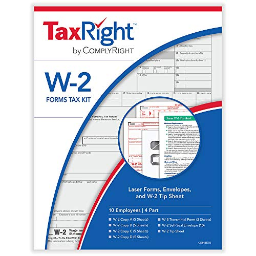 W2 4-Part Laser Tax Kit with Envelopes for 10 Employees