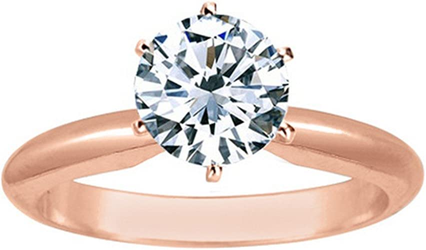 1 Carat Round Cut Diamond Solitaire Engagement Ring 14k White Gold 6 Prong J Si2 I1 1 C T W Very Good Cut Amazon Com