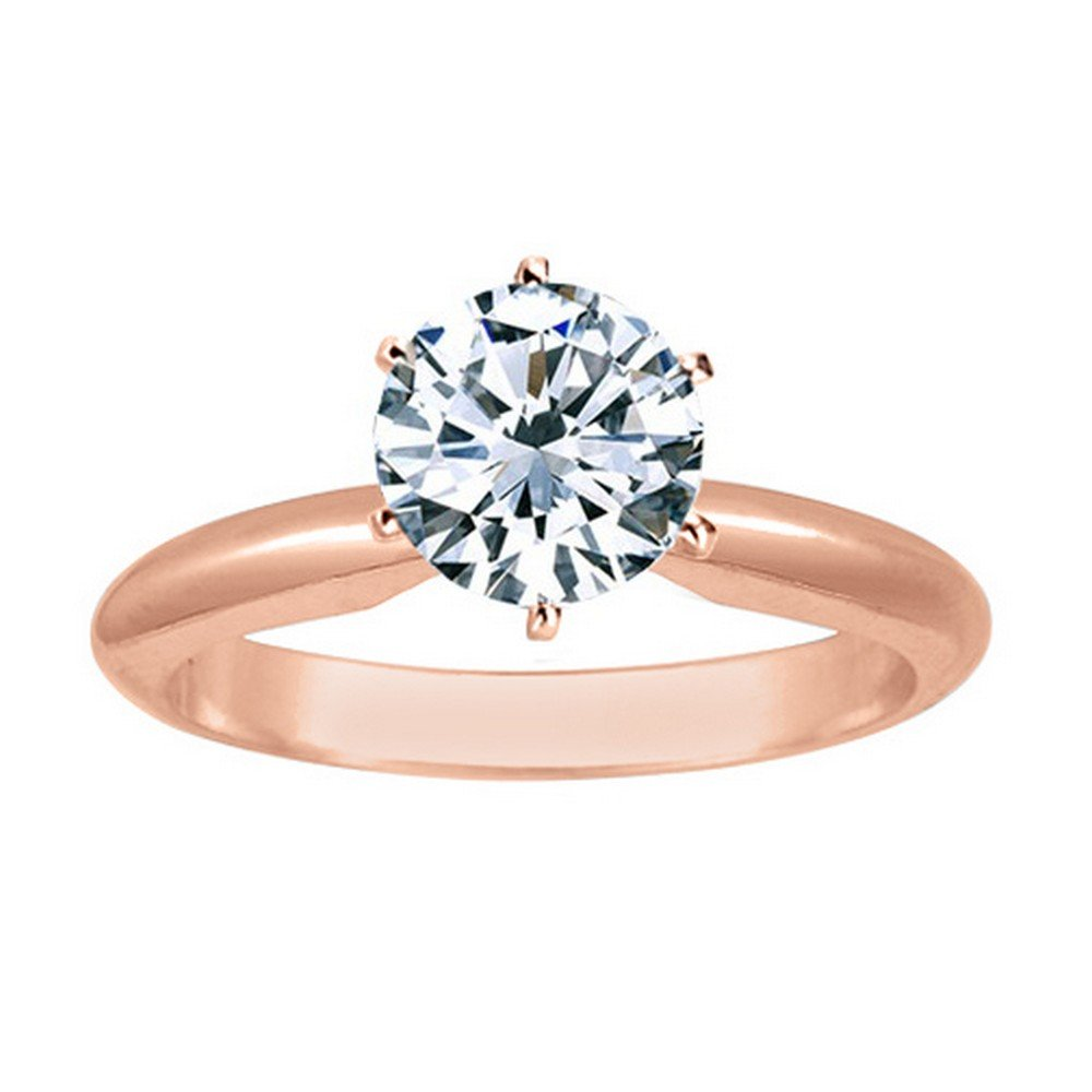 1/2 Carat 14K Rose Gold Round Cut 6 Prong Solitaire Diamond Engagement Ring (0.5 Carat J-K Color SI1-SI2 Clarity)