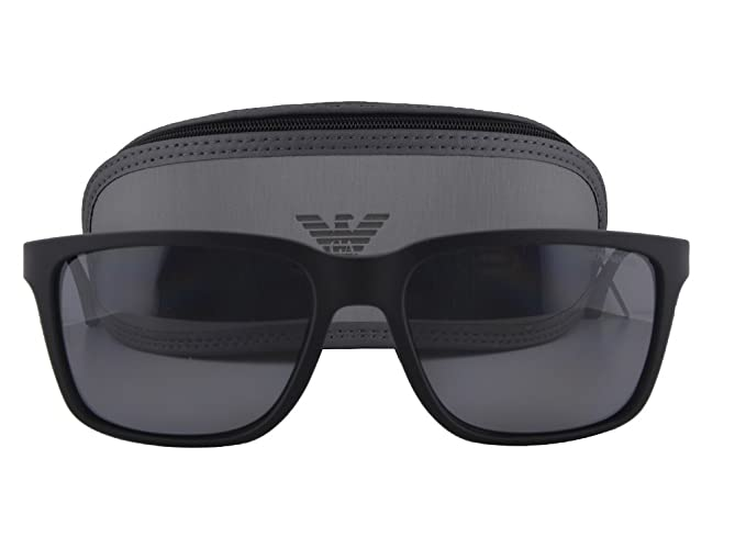 5af66ccad6 Emporio Armani EA 4047 Sunglasses Black Rubber w Gray Polarized Lens ...