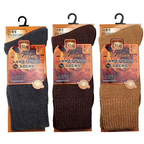 Falari 3-Pack Men's Lambs Wool Socks Extreme Warm for Cold Weather Activities (One Size, Dark Grey, Dark Brown, Beige)