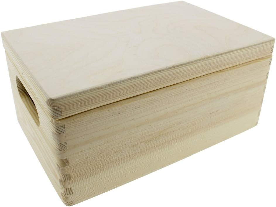 Holzbox Holzkisten mit Deckel unbehandelt in hochwertiger Qualit/ät Werkzeugbox Aufbewahrungsbox Spielzeugkiste Gr/ö/ße 30 x 20 x 14 cm