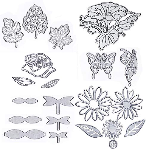 Card Craft Templates (Metal Die Cuts Cutting Dies Flower Leaves Butterfly Bowknot Embossing Stencil Template for Card Scrapbooking and DIY Craft 6 Set 21 PCS)