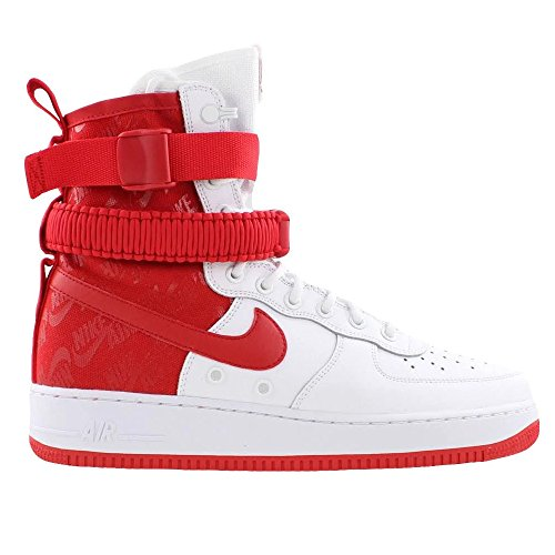 (Nike Men's SF AIR Force 1 Shoe White/University RED (11 D(M) US))
