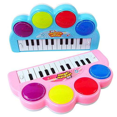 Kids Piano, WOLFBUSH Multi-function 3D Electronic Organ Music Keyboard Piano with Flash Light Kids Educational Toy Used for Family Gatherings Performances Entertainment - Color Random