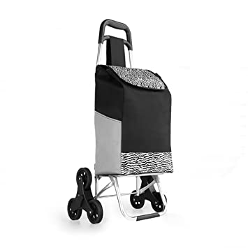 HCC& Plegable Carrito de Compras con 6 Ruedas Multifunción Acero Inoxidable Carrito de Equipaje para Supermercado