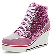 Glitter Genuine Leather High Heeled Platforms Trainers