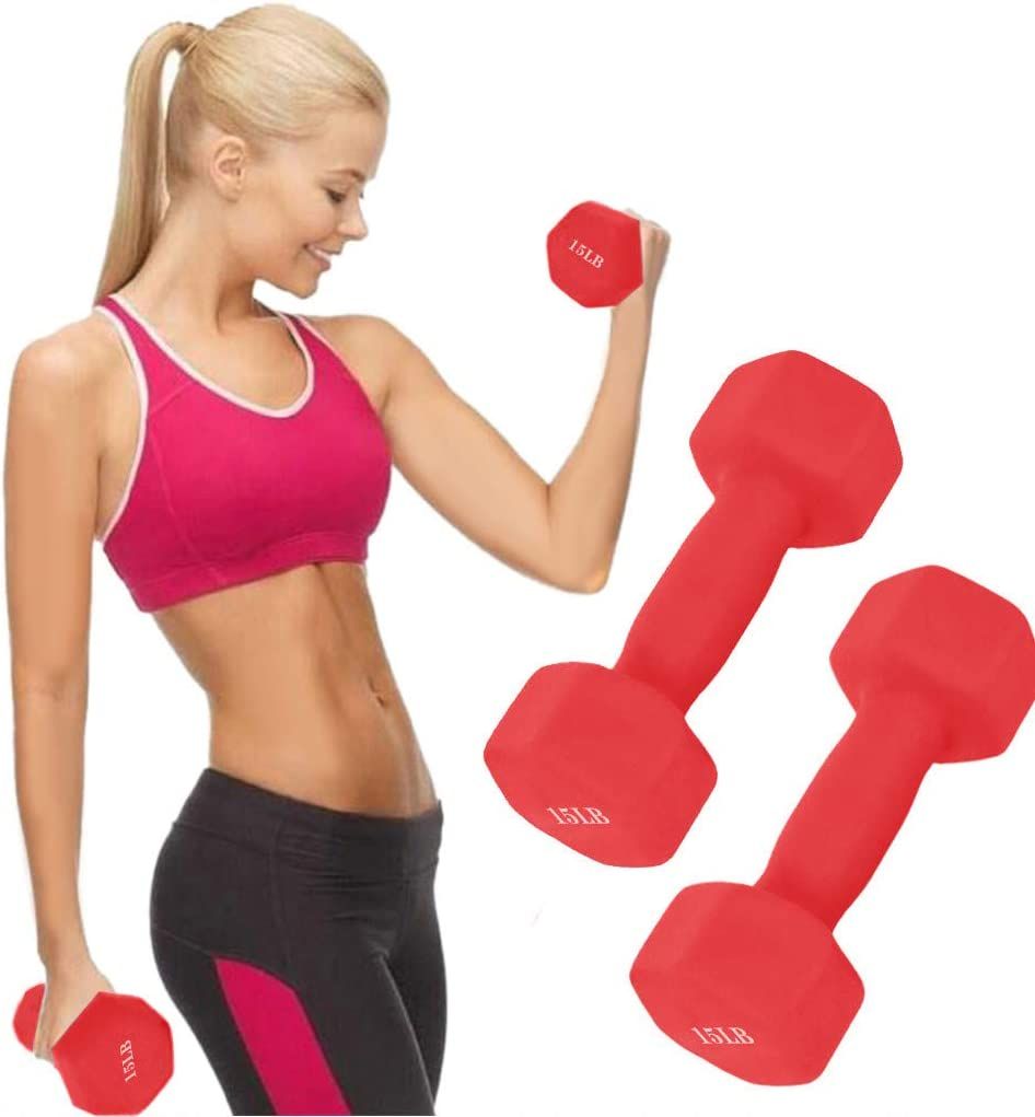 10 Pound Weights 6//8//10//12//15 Pound Red Workout Dumbbell Barbell for Men and Women Muscle Toning Strength Building Weight Loss and Home Cardio Exercise Infidev A Pair Neoprene Hex Coated Dumbbell