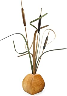 product image for American Made Wood Cattails Tabletop Arrangement with Oak Vase