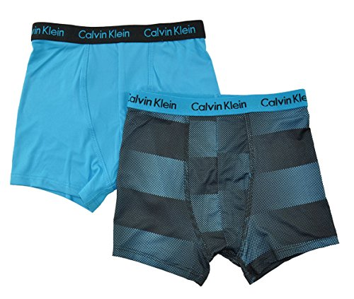 Calvin Klein Boys 2 Pack Baby Cyan & Black Print Athletic Boxer Briefs