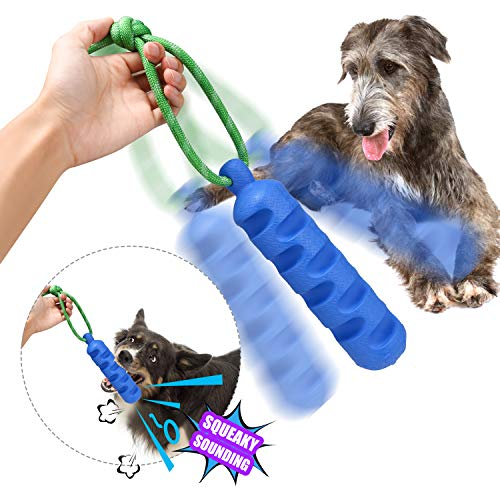 YUEJING Durable Dog Chew Toys, Interactive Durable Squeaky Dog Toy On A Rope, Indestructible Squeaky Dog Bone-Shaped Pet…