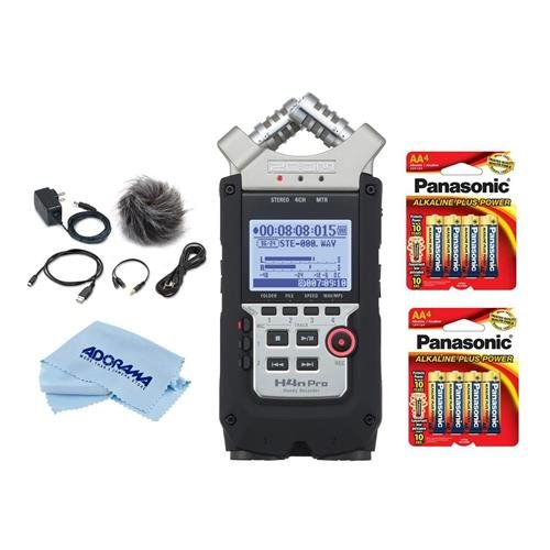 Zoom H4n Pro Handy Mobile 4-Track Recorder - Bundle with 8 Pack AA Alkaline Batery, Accessory Pack, Microfiber Cleaning Cloth