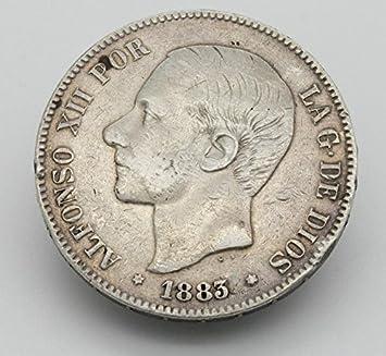 Desconocido Moneda de 5 Pesetas de Plata del Año 1883 Durante La ...
