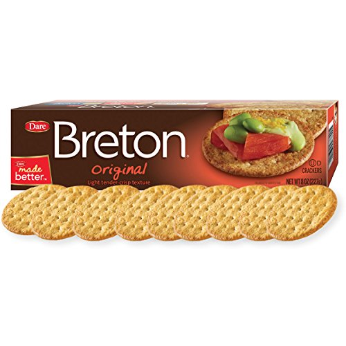 Dare Breton Crackers, Original - Party Snacks with no Artificial Flavors and 0g of Trans Fat per Serving - 8 Ounces (Pack of 12) (Best Crackers For Dips)