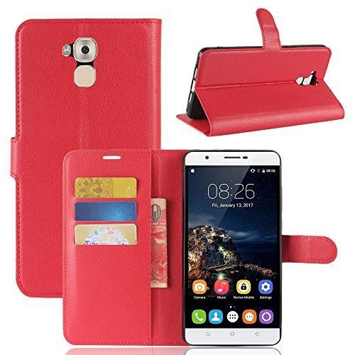 Oukitel U16 MAX Funda Faux Cuero Billetera Funda para Oukitel U16 MAX con Stand Función(Rosa roja) Rojo