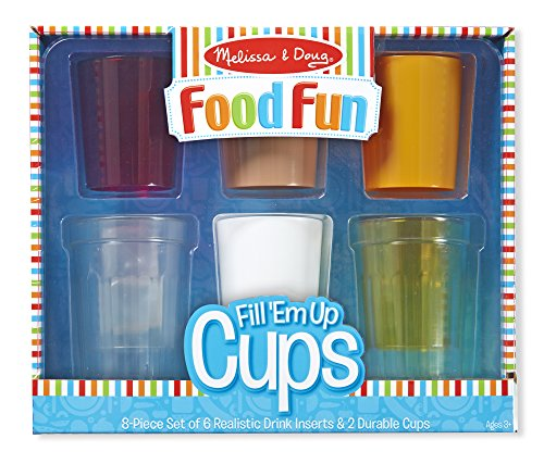 Melissa & Doug 9542 Create-A-Meal Fun Fill a€˜Em Up Cups-Play Food & Kitchen Accessories Role Toy, - Set Play Coffee Maker