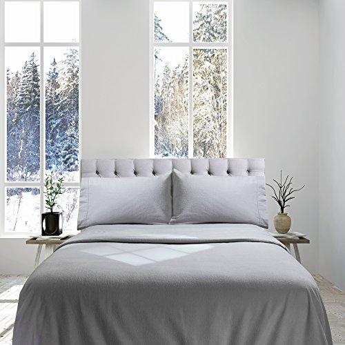 Genteele 100% Cotton Flannel Sheet Set - Luxurious Heavyweight - Ultra Soft Premium Velvety Quality 4 Piece Set - Full, Gray
