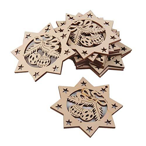 (Wooden Craft Jingle Bells Embellishments Christmas Props Octagon Bells Tree Hanging Ornaments for Festival Decoration 10Pcs)
