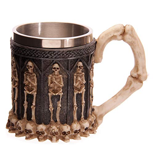 Heliovia 3D Stainless Steel Personality Halloween Skull Coffee Mike Cup for Household Gift Decor