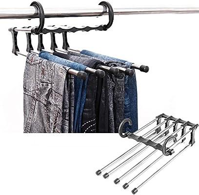 xradG Perchero de Acero Inoxidable para Pantalones, 5 en 1, Multifuncional, Múltiples Capas, Pantalones, Riel corredizo, Armario, para Pantalones, ...