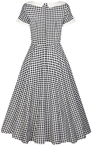 Dress Collectif Kleid Pepita Damen Madeline Gingham Schwarz Gingham Weißes Swing q4ROwq