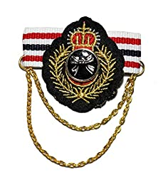 King Crown Gold Lace Ribbon Bow Olive Branch Chain Military Rock Punk Biker Blazer Jacket Fashion Costume Badge Brooch/Pin #BP-12
