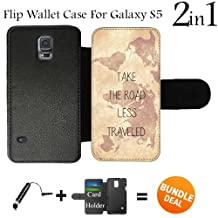 Vintage World Map and Inspirational Quote Custom Galaxy S5 Cases Flip Wallet Case,Bundle 2in1 Comes with Custom Wallet Case/Universal Stylus Pen by innosub