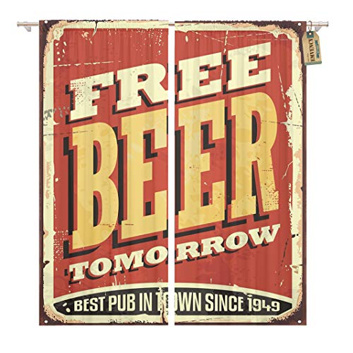 Golee Window Curtain Free Beer Tomorrow Vintage Tin Sign on Old Worn Home Decor Rod Pocket Drapes 2 Panels Curtain 104 x 96 inches