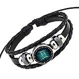 Rosemes Retro 12 Constellation Beaded Hand Woven Leather Bracelet PUNK Chain Cuff Gemini