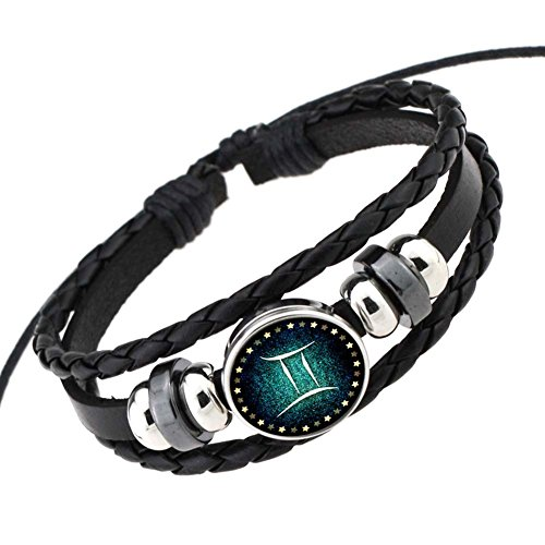 Rosemes Retro 12 Constellation Beaded Hand Woven Leather Bracelet PUNK Chain Cuff - Bracelet Hand Beaded